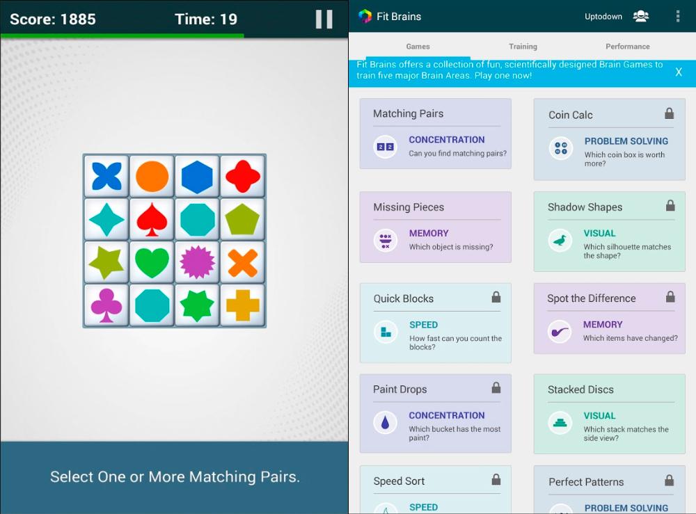 Juegos de memoria Fit Brains Trainer para Android