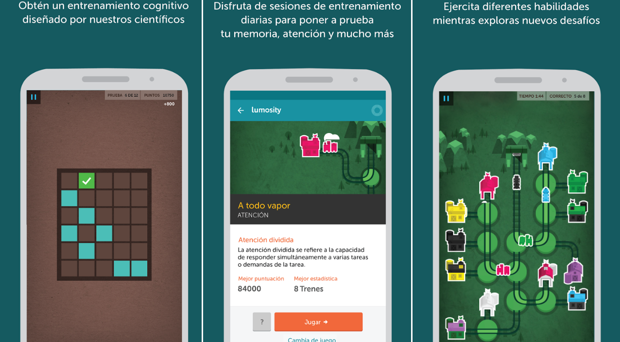 Juegos de memoria Lumosity para Android