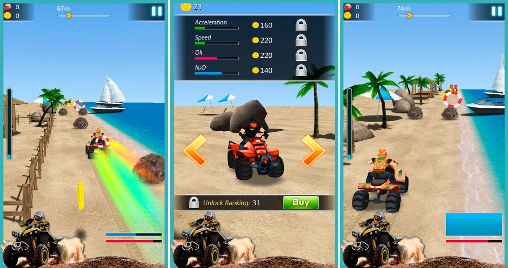 Moto Beach Crazy Speed, juego Android